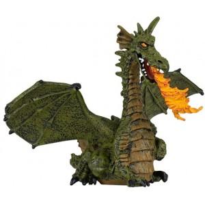 Зеленый дракон с пламенем  Papo 39025