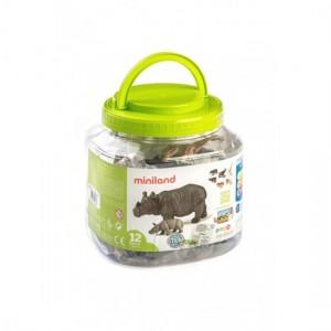 Набор диких животных и их малышей у контейнере Miniland 25137
